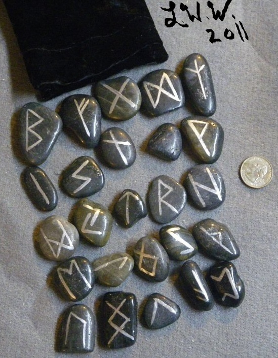 Black River Rock Stone Futhark Rune Set with Black Pouch Wicca Pagan Divination
