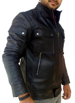 Handmade New Men Superb Strap Pocket Slim Fit Leather Jacket, Men leathe... - $139.00