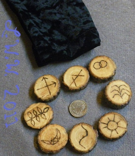 Handmade Willow Wood Witches Rune Set with Black Pouch Divination Pagan Wicca