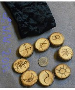 Handmade Willow Wood Witches Rune Set with Black Pouch Divination Pagan ... - $4.99