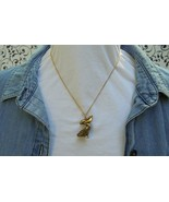"""Marked NS Gold Plated Pewter 3D Heavy Whimsical Pelican Necklace 18"""" Chain - $7.00"""