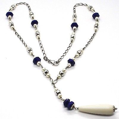 925 Silver Necklace, Lapis Lazuli Blue Disk, Pearls, Pendant Drop