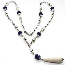925 Silver Necklace, Lapis Lazuli Blue Disk, Pearls, Pendant Drop image 1
