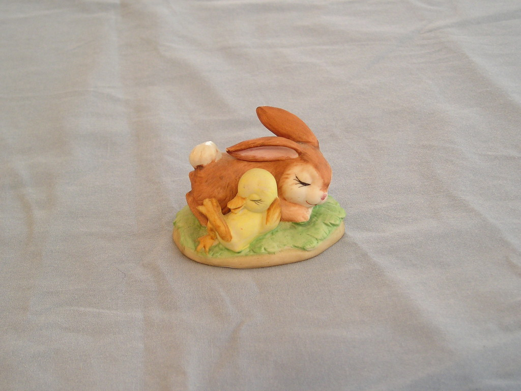 Lefton China Bunny and Baby Duck