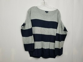 Gap Sweater Gray Navy Striped Womens Top Size Large  - $7.84