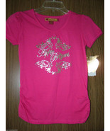 Apple Bottoms Girls Pink, S/Sleeves, Foil Print Logo/Graphics Tee, Sz.La... - $12.86