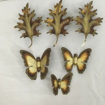 Lot of 6 Vtg Brass Sheet Metal Art Wall Sculpture Decor Oak Leaf Butterflys - $28.71