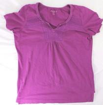 Eddie Bauer sz L y neck lavender short sleeve blouse t shirt - $20.00