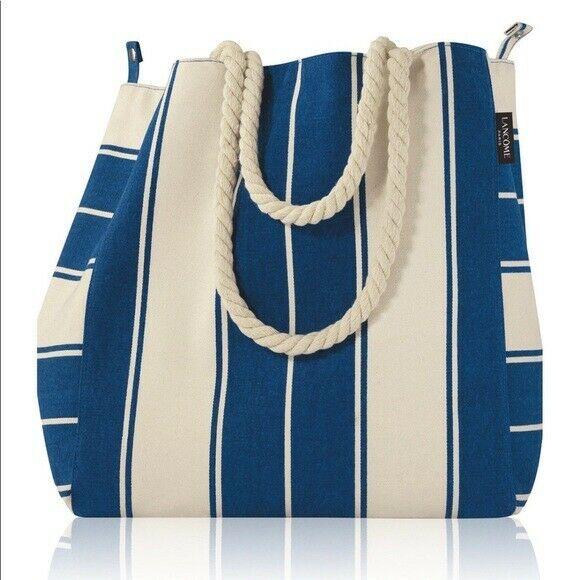 Lancome 5pc gift with Blue/ White tote bag. Sun Creme, Palette , Bi-Facial & etc - $23.75
