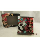 Set of 4 * Ed Hardy * Skulls Fire Glass Coaster Set with Holder *   NEW ... - $10.39