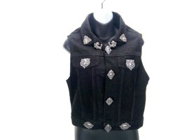 Women's Jean Jacket Black Embellished Denim Biker Vest Sleeveless Sz S - $44.37