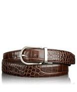 NWT TUMI men's 40 belt Crocodile leather brushed nickel hardware Brown - $121.60