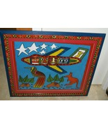 RARE UNIQUE FOLK ART PAINTING NEW GUINEA AIRPLANE & TRIBES FRAMED SIGNED... - $474.99