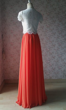 Plus Size Maxi Chiffon Skirt A-Line Chiffon Wedding Skirt Orange image 6