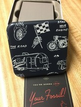 """New Fossil Watch Tin Box """"Empty"""" Enjoy The Ride Theme Collectible - $12.99"""