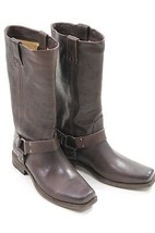 FRYE SMITH HARNESS TALL STYLE 77448 DARK BROWN BOOTS 7 - $398.00