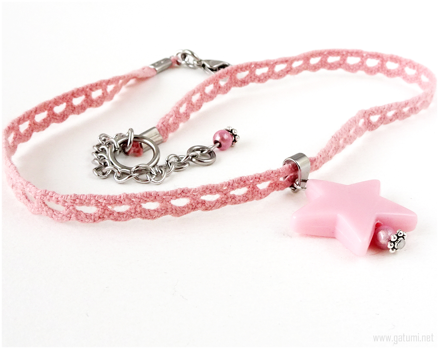 Pink Lace Choker with Star Pendant, Pastel Goth, Kawaii Jewelry, Gatumi