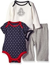 Nautica Baby 3 Piece Bodysuit and Pant Set, Sport Navy, 6-9 Months