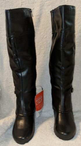 YUU Cathry2 Black Synthetic Zipper Boots Cuban High Heel 7 1/2 MWC