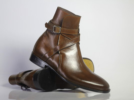 Handmade Men's Brown Leather High Ankle Monk Strap Jodhpurs Boots image 1