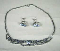 Set Necklace 2 Earrings Rhinestones Blue Choker 15 in VTG Screw back Sil... - €27,54 EUR