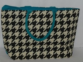 GANZ Brand ER39334 Style 101 Large Burlap Black Cream Purse Teal Handle image 2