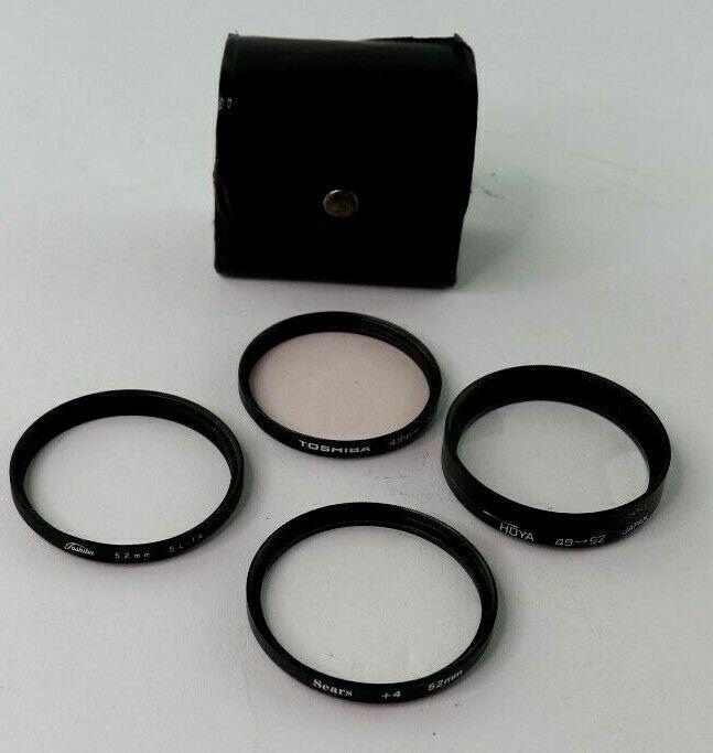 Lot of 4 49mm & 52mm Toshiba, Sears, Hoya Close Up Filters Camera Lense W/ Case - $14.95