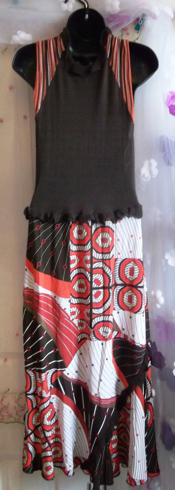 Designer Evalinka Midi Dress Boho/ Hippy Style S/M-brown/orange,lined skirt,lush