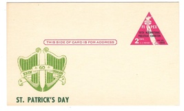 UX44 FIPEX St Patricks Day Cachet Unused Postal Card A O Fleischman Oesterling - $9.95