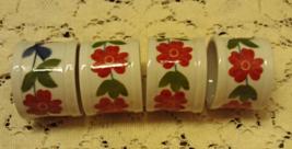 Vintage Set of Four Porcelain Rust Blue Flower Napkin Rings // Vintage T... - $8.00