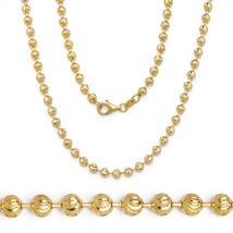 925 Sterlingsilber 14k Gelbgold Kugel Perle Glieder Italienisches Halskette - £27.82 GBP+