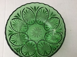 Anchor Hocking Medallion Green Glass Bowl Star and Cameo Pattern Vintage 1960s - $28.01