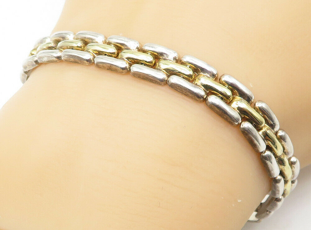 925 Sterling Silver - Vintage Two Tone Smooth Square Link Chain Bracelet - B4959