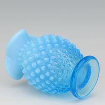 Vintage Fenton Art Glass Opalescent Blue Hobnail Small Tri Corn Vase image 3