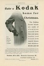 1900 Take a Kodak Home for Christmas Ad Folding Pocket Camera Photography - $15.00