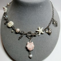 STERLING SILVER Signed Le Bella Beads White Pink Seashells Toggle Clasp Necklace - $49.50