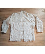 50s Sweater Ivory Cardigan Cream Vintage Open Front L XL - $26.00
