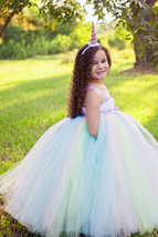 Unicorn Tutu Dress, Pastel Tutu Dress, Pastel Rainbow Flower Girl Dress - $50.00+