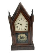 Vintage Seth Thomas Wooden Housed Eight Day Spring Clock Painted Glass Bird - $256.49