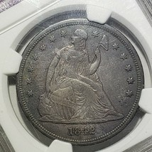 1842 Seated Liberty Silver Dollar Coin AU Details Lot A 106 image 2