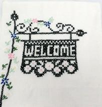 "Vintage ""Welcome""  Guest Fingertip Towel Linen  Cross Stitch 1940s Powde... - $20.48"