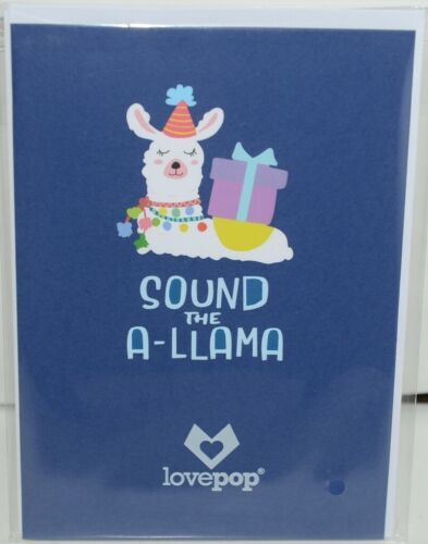 Lovepop LP2598 Happy Birthday Llama Pop Up Card White Envelope Cellophane wrap