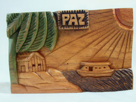 PAZ Hand Carved Painted Wood Wall Plaque Peace Boat Palm Tree House Sign... - $22.76
