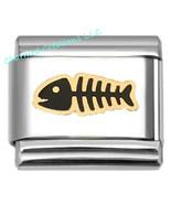 Gold Plated Fish Skeleton Ocean 9mm Italian Charm Stainless Steel Modula... - $7.91