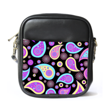 Sling Bag Leather Shoulder Bag Hot New Beautiful Paisley Design Purple E... - $14.00