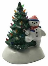 Ceramic Christmas Tree with Snowman NO LIGHT Holiday Decor Winter Wonder... - $46.00