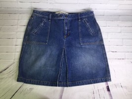 Gap Jeans Blue Cotton Denim Skirt Slit Front Pockets Size 16 - $22.14