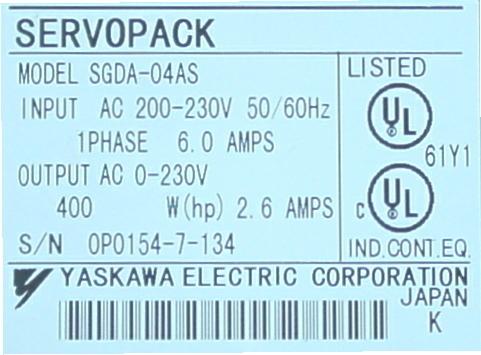 Yaskawa Servo Drive Amplifier SGDA 04AS