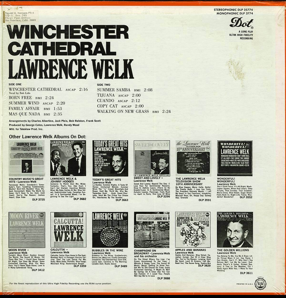 LAWRENCE WELK WINCHESTER CATHEDRAL LP DLP 25774  RARE