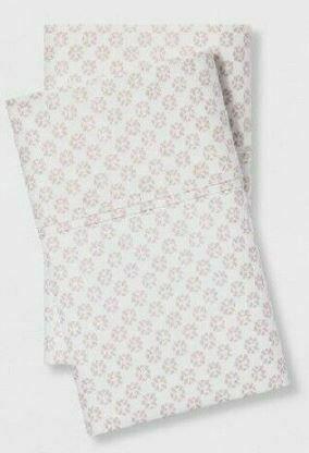 "King Pillowcase set soft organic cotton 300tc white pink print 40""x20"" Threshold"